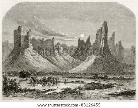 Hombori mountains old view. Created by Lancelot after Barth, published on Le Tour du Monde, Paris, 1860 - stock photo