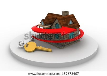 Home and key with arrow - stock photo
