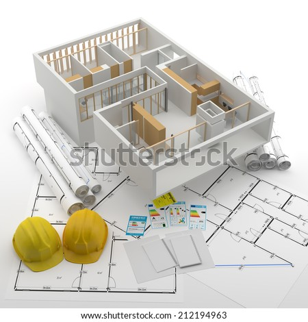 Home and Plans - Energy Efficiency - Energy Saving - stock photo
