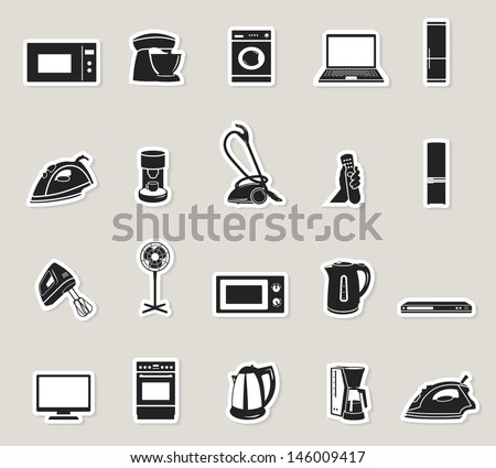 home appliances and electronics paper sticker icons set. raster version, vector file also available in gallery - stock photo