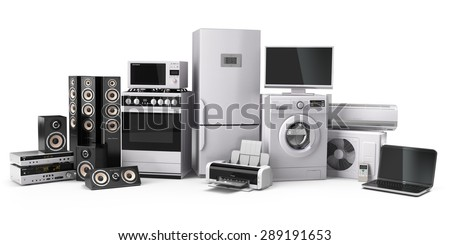 Home appliances. Gas cooker, tv cinema, refrigerator air conditioner microwave, laptop and washing machine. 3d - stock photo