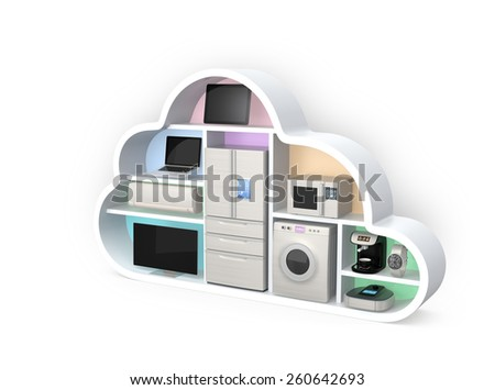 Home appliances in cloud shape for IOT concept. Clipping path available. - stock photo