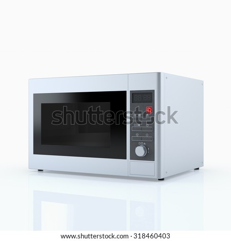 Home appliances. Microwave oven isolated on white. 3D render - stock photo