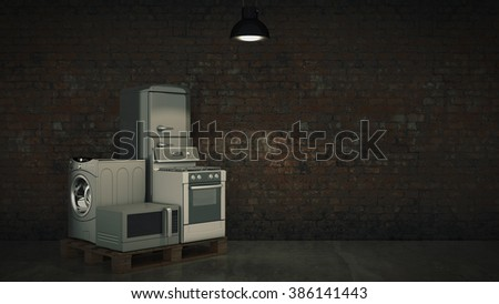 Home appliances. Set of household kitchen technics isolated on white. Fridge, gas cooker, microwave oven and washing machine. 3d - stock photo