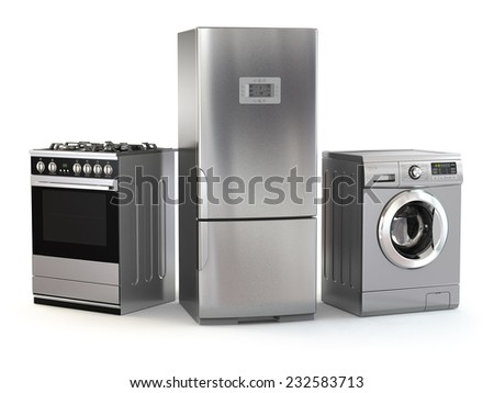 Home appliances. Set of household kitchen technics isolated on white. Refrigerator, gas cooker and washing machine. 3d - stock photo