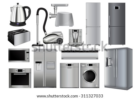Home appliances. Set of household kitchen technics: Microwave and Oven, grinder, Dishwasher, Vacuum cleaner, refrigerator, coffee machine, split-system, washing machine, kettle. Raster version.  - stock photo