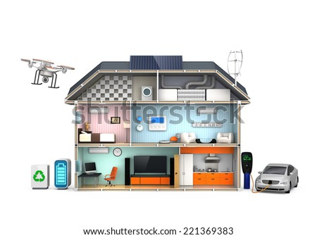 Home automation concept isolated on white background.(No text) - stock photo
