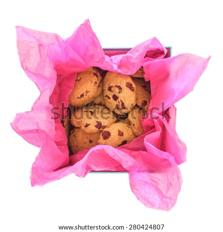 Home baked cookies in a gift box, isolated on white background. - stock photo