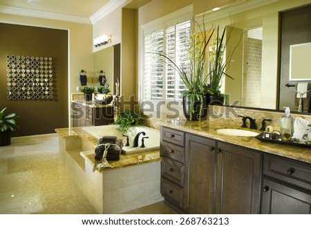 Home Bath room Interior Design House Architecture Contemporary Bath Interior Architecture Stock Images,New Homes Photos of Bathroom,Kitchen,Bed room, Office, Interior and exterior photography.  - stock photo