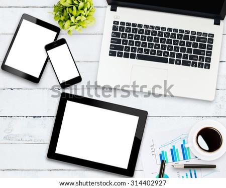 home business communicator set on white wood - stock photo