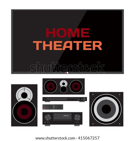 Home cinema system. Home theater flat vector illustration. TV, loudspeakers, player, receiver, subwoofer, remote for home movie theater and music - stock photo