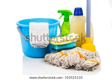 Home cleaning tool set of detergent, mop, sponge, spray, towel and pail - stock photo