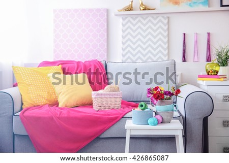 Home design interior with beautiful freesia flowers, indoors - stock photo