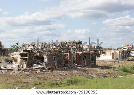 Home destroyed after tornado in Joplin, Missouri - Twister Damage - stock photo