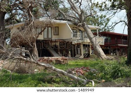 Home destroyed by hurricane Katrina in Biloxi - stock photo