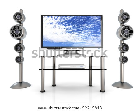 Home Entertainment. 3D rendered Illustration. - stock photo