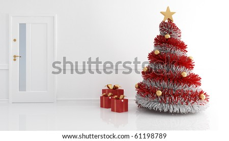 home entrance with red and white christmas tree - stock photo