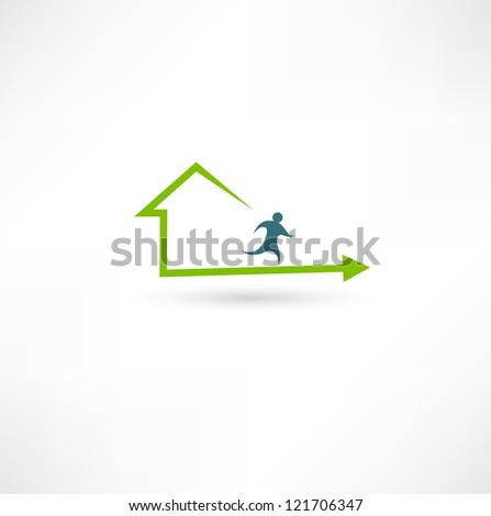 Home fitness icon - stock photo