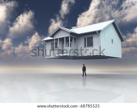 Home floats above mans head - stock photo