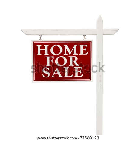 Home For Sale Real Estate Sign Isolated on a White Background. - stock photo