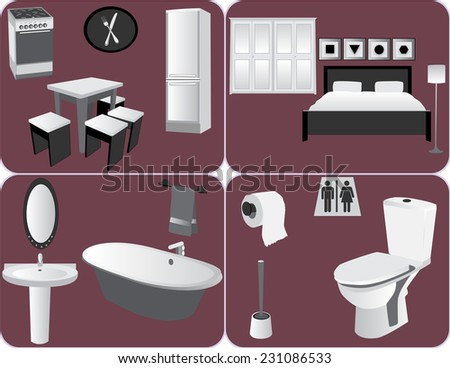 Home furniture Illustrations set - stock photo