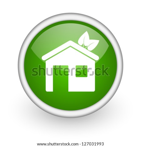 home green circle glossy web icon on white background - stock photo