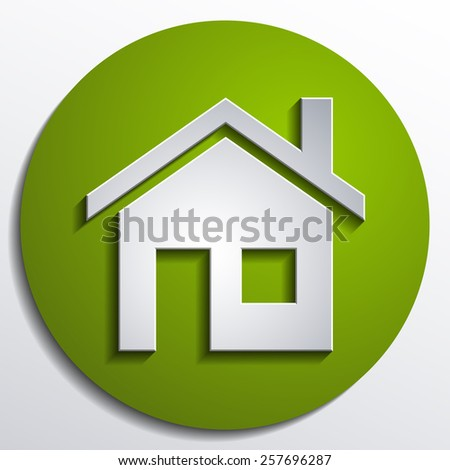 home icon design with isolated on green background button - stock photo