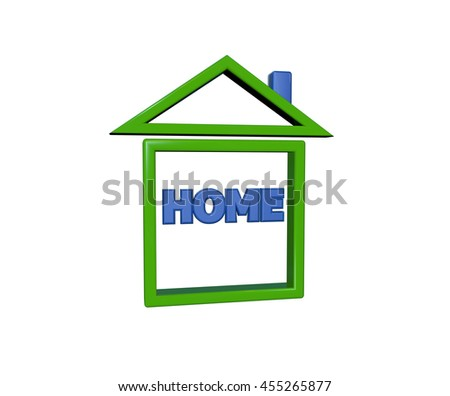 Home icon on white background.3D Rendering - stock photo