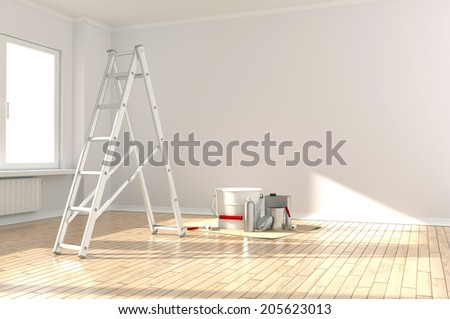 Home Improvement / ladder, paint can and paint roller - stock photo