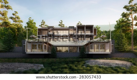 Home in the mountain - 3D rendering image - stock photo