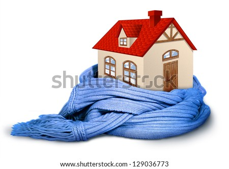 Home insulation, illustration conceptual isolated on white - stock photo