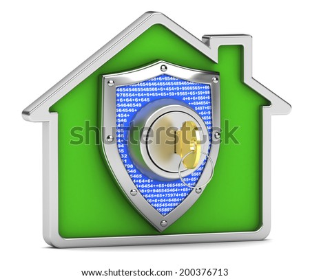Home insurance protection on a white background - stock photo