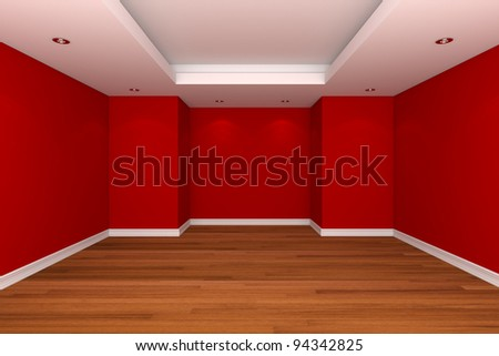 Home interior rendering with empty room decorate red color wall with wooden floors. - stock photo