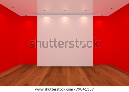 Home interior rendering with empty room red color wall and wood floor for AD. - stock photo