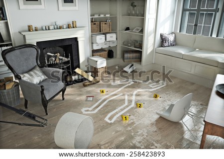 Home invasion , crime scene in a wrecked furnished home. Photo realistic 3d scene. - stock photo