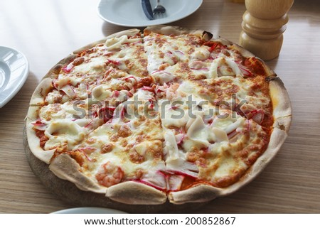 Home mad pizza with pepper - stock photo