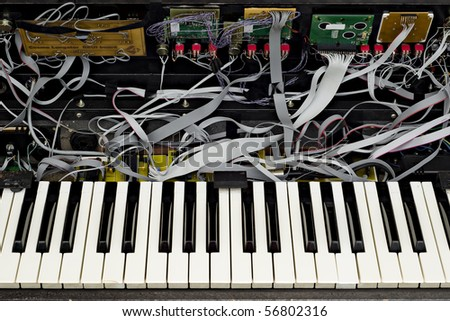Home made advanced synthesizer prototype detail - stock photo