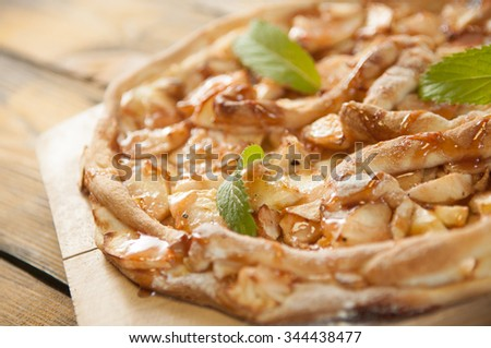 home made apple cake on the table - stock photo