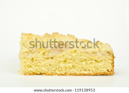 home-made apple cake side view - stock photo