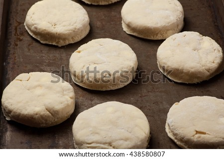 Home made baking powder biscuits, before being put in the oven - stock photo