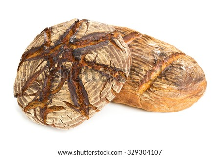 Home-made bread loaves of different flavours on white background - stock photo
