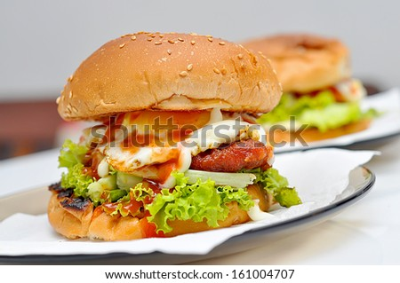 Home made burger  - stock photo
