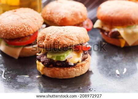 home made burgers  - stock photo