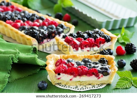 Home-made cake with summer berries. - stock photo