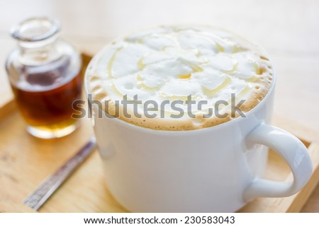 Home made caramel coffee. - stock photo