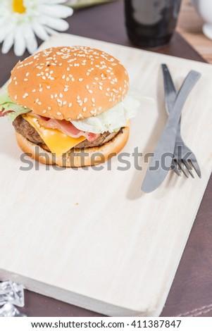 home made cheeseburger - stock photo