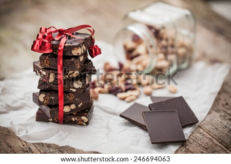 Home made chocolate for Valentine's day gift - stock photo