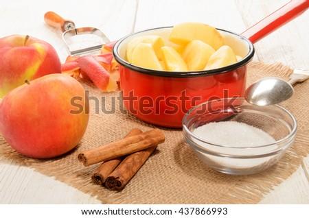 home made christmas applesauce with cinnamon and sugar - stock photo
