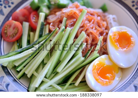 Home made cold noodle  - stock photo