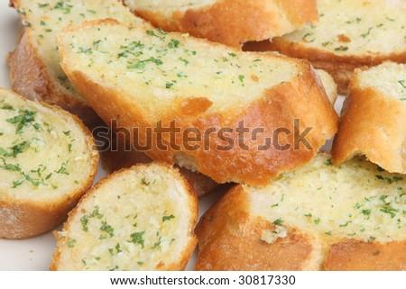 Home-made garlic bread - stock photo
